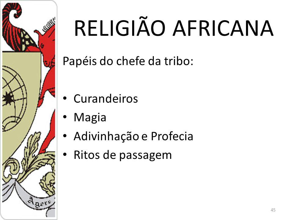 RELIGIÃO AFRICANA Papéis do chefe da tribo: Curandeiros Magia