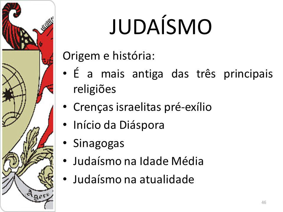 JUDAÍSMO Origem e história: