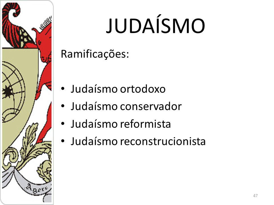 JUDAÍSMO Ramificações: Judaísmo ortodoxo Judaísmo conservador
