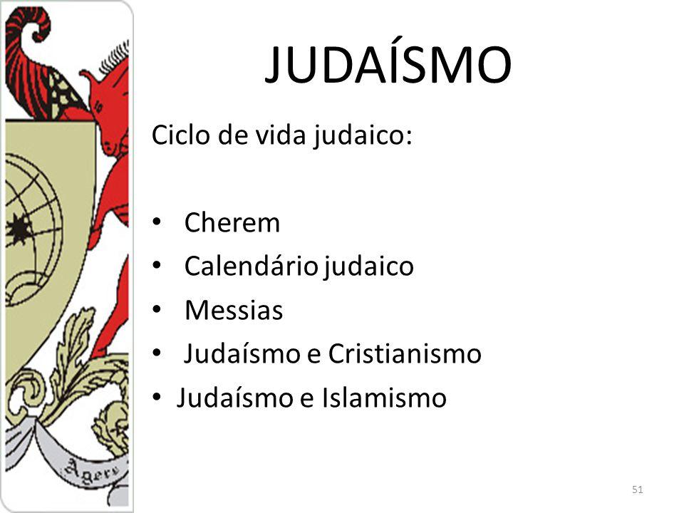 JUDAÍSMO Ciclo de vida judaico: Cherem Calendário judaico Messias
