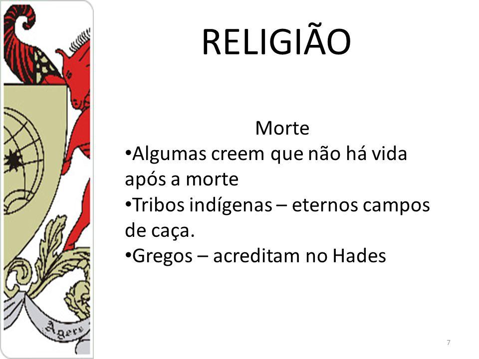 RELIGIÃO Morte Algumas creem que não há vida após a morte