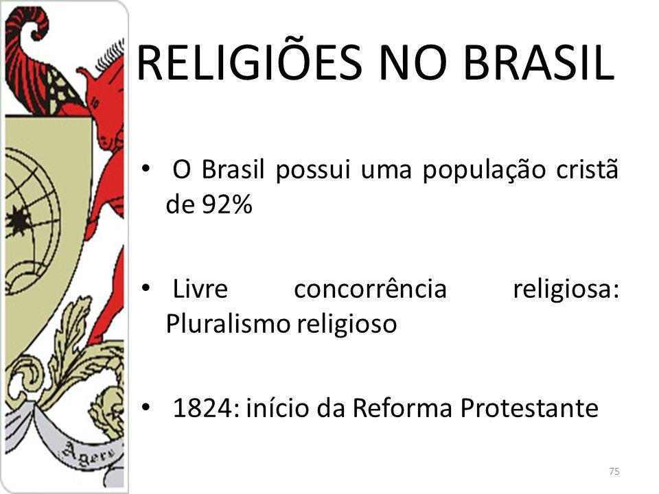 RELIGIÕES NO BRASIL O Brasil possui uma população cristã de 92%