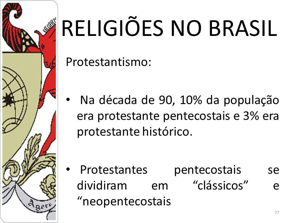 RELIGIÕES NO BRASIL Protestantismo: