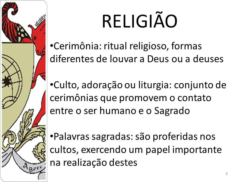 RELIGIÃO Cerimônia: ritual religioso, formas diferentes de louvar a Deus ou a deuses.