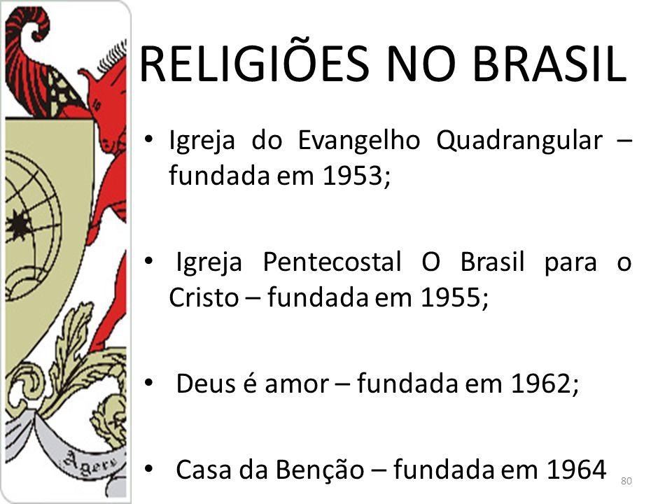 RELIGIÕES NO BRASIL Igreja do Evangelho Quadrangular – fundada em 1953; Igreja Pentecostal O Brasil para o Cristo – fundada em 1955;