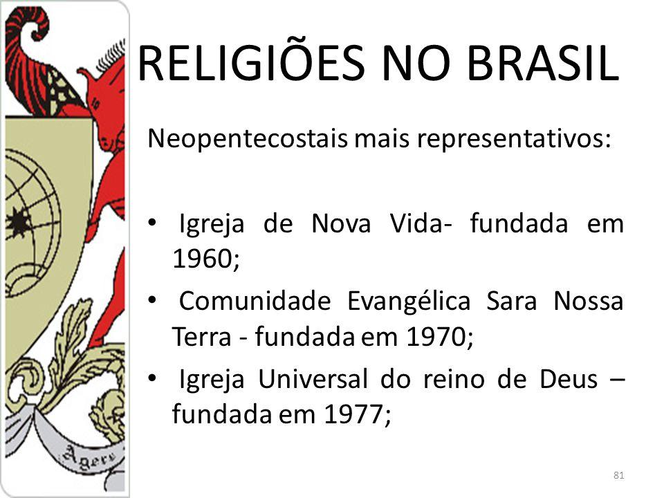 RELIGIÕES NO BRASIL Neopentecostais mais representativos: