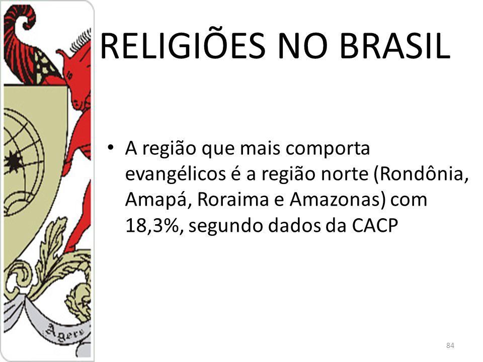 RELIGIÕES NO BRASIL A região que mais comporta evangélicos é a região norte (Rondônia, Amapá, Roraima e Amazonas) com 18,3%, segundo dados da CACP.