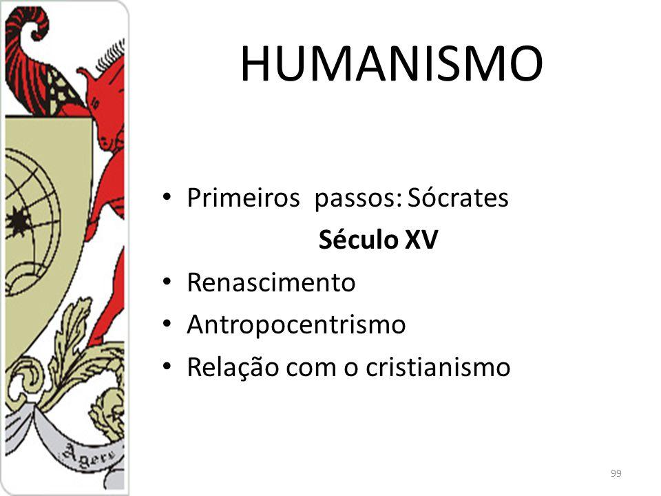 HUMANISMO Primeiros passos: Sócrates Século XV Renascimento