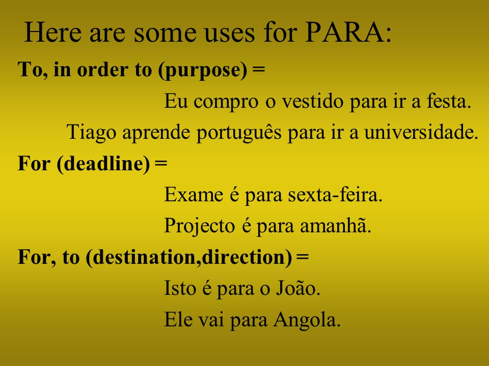 Here are some uses for PARA: