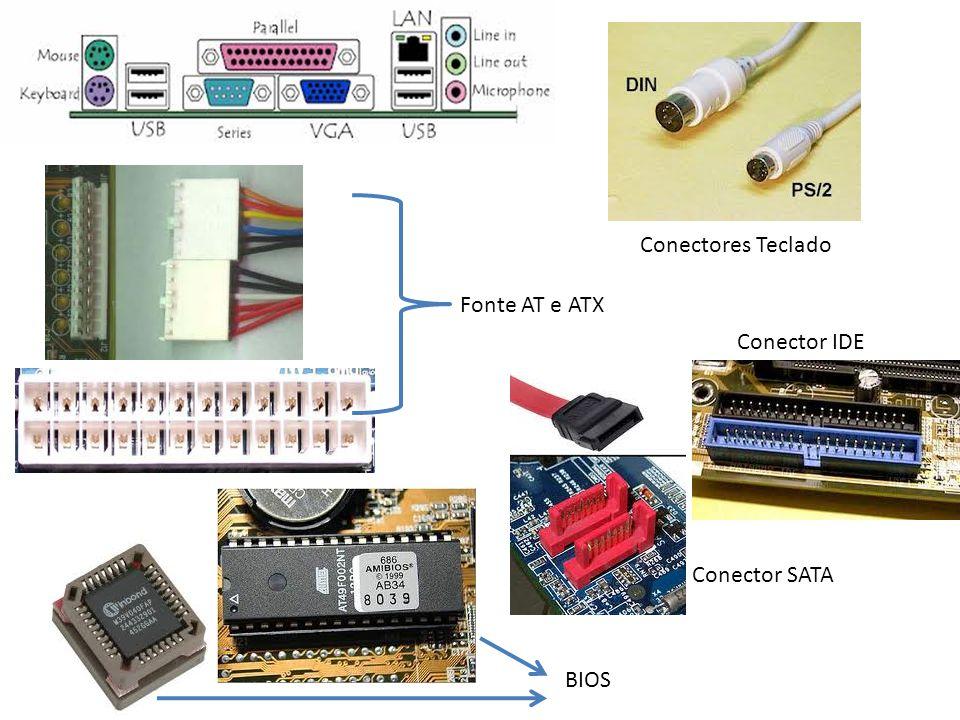 Conectores Teclado Fonte AT e ATX Conector IDE Conector SATA BIOS