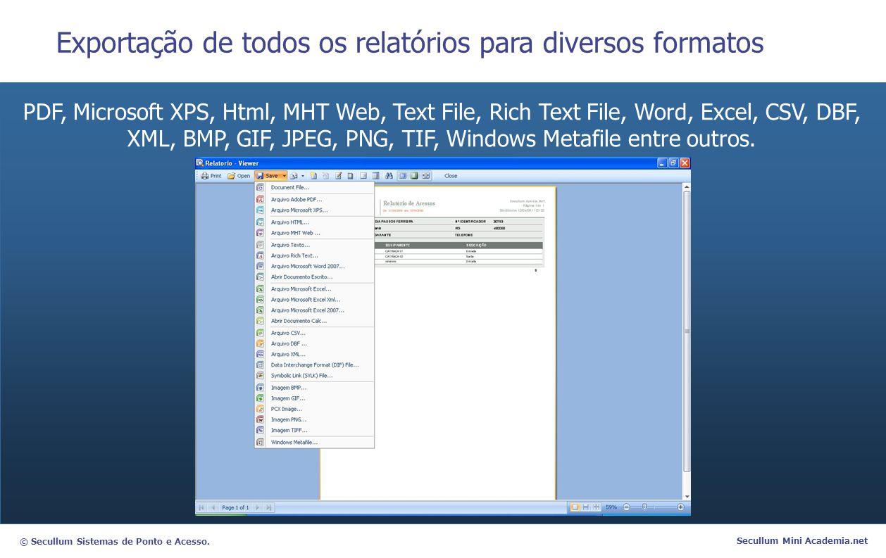 Exportação de todos os relatórios para diversos formatos