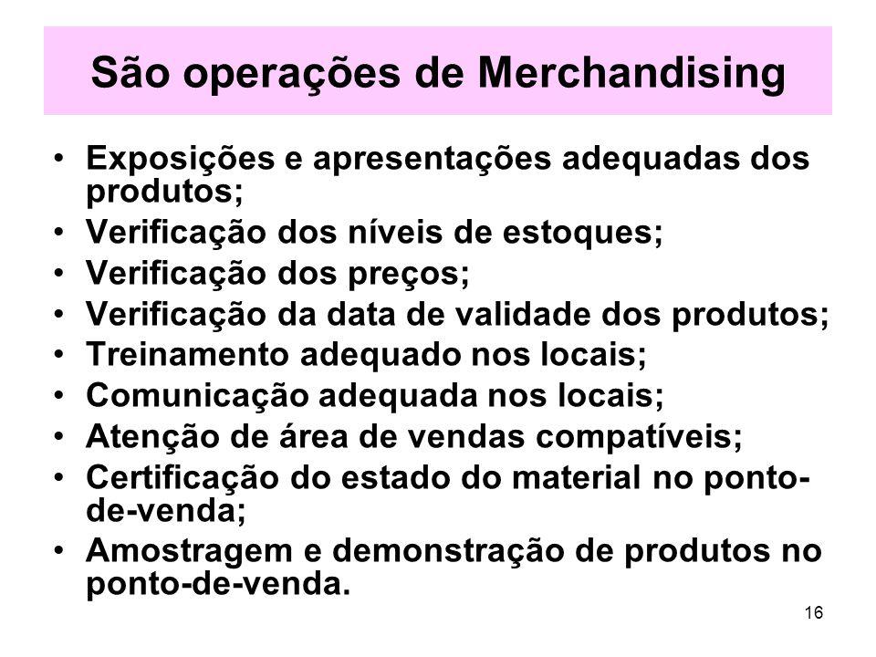 São operações de Merchandising