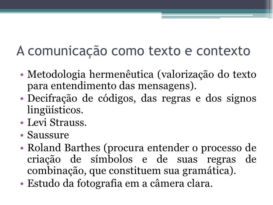 A comunicação como texto e contexto
