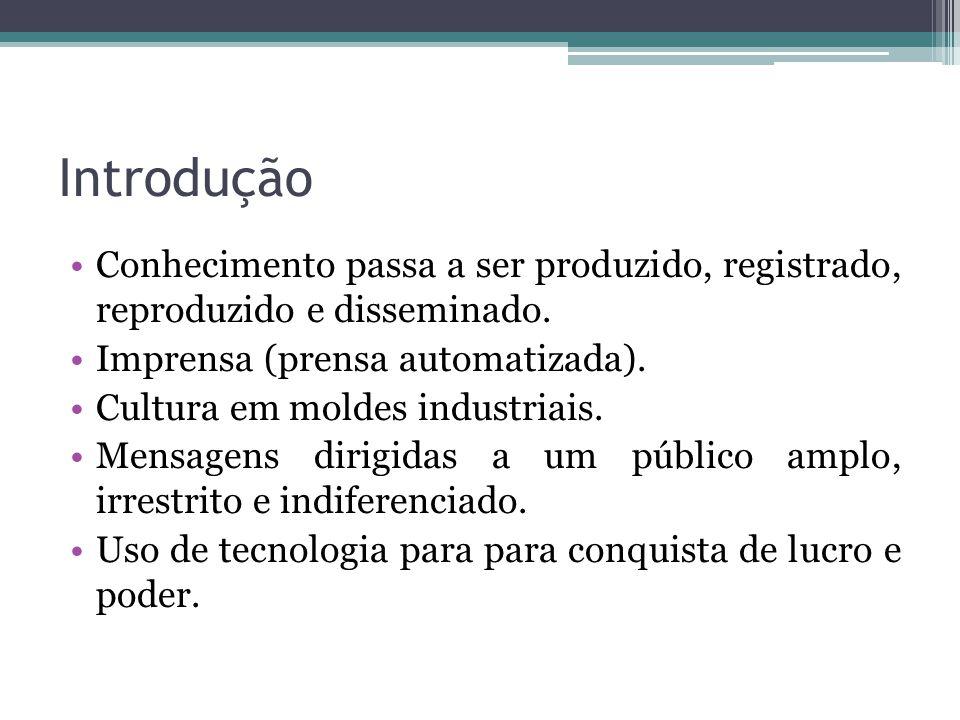 Introdução Conhecimento passa a ser produzido, registrado, reproduzido e disseminado. Imprensa (prensa automatizada).