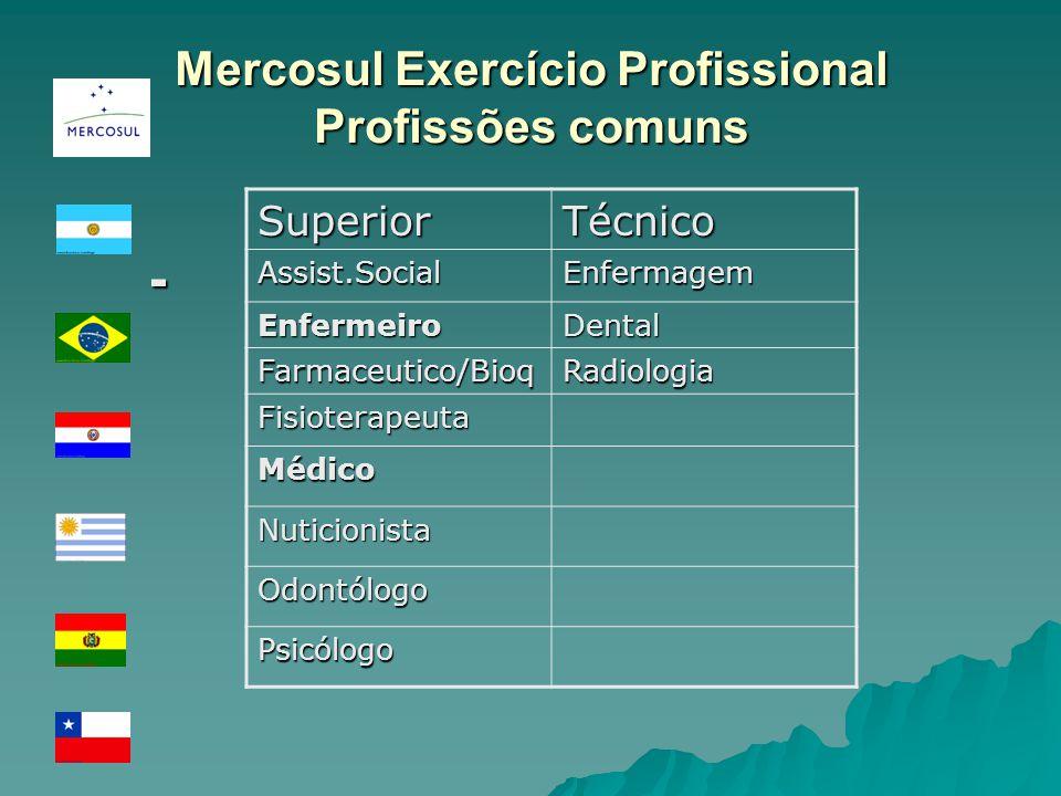 Mercosul Exercício Profissional Profissões comuns