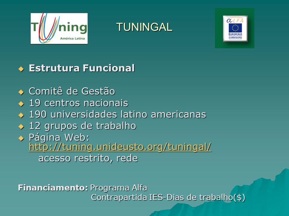 TUNINGAL Estrutura Funcional Comitê de Gestão 19 centros nacionais