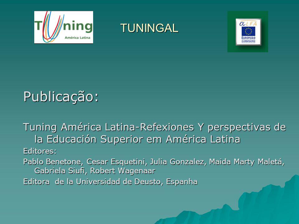 TUNINGAL Publicação: Tuning América Latina-Refexiones Y perspectivas de la Educación Superior em América Latina.