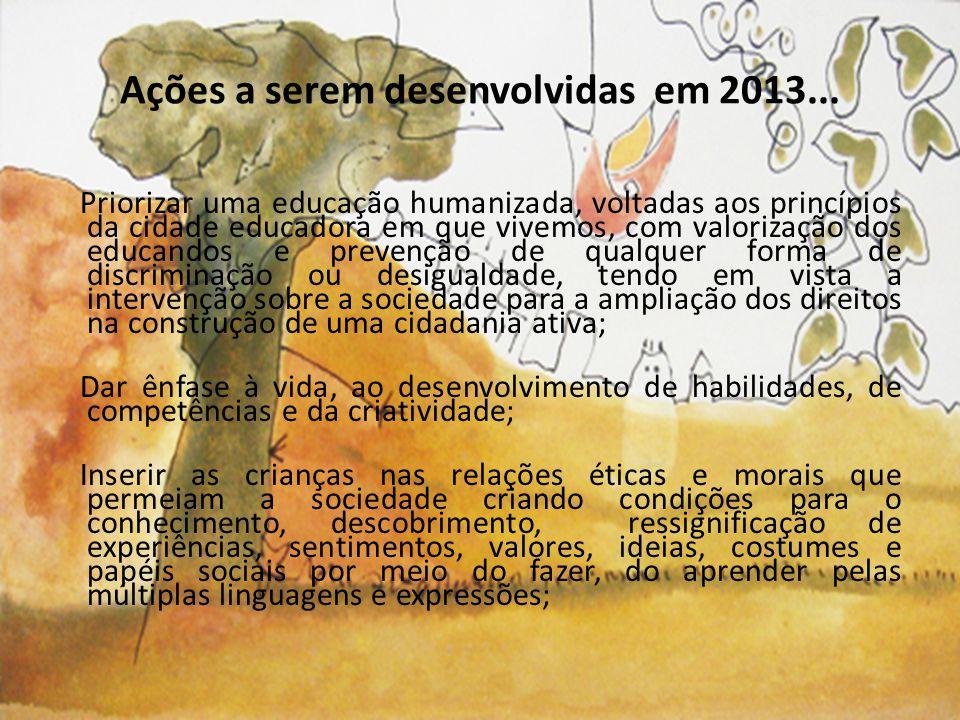 Ações a serem desenvolvidas em 2013...