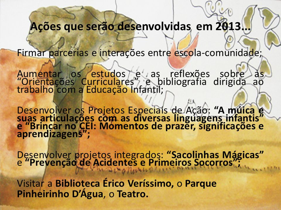 Ações que serão desenvolvidas em 2013...