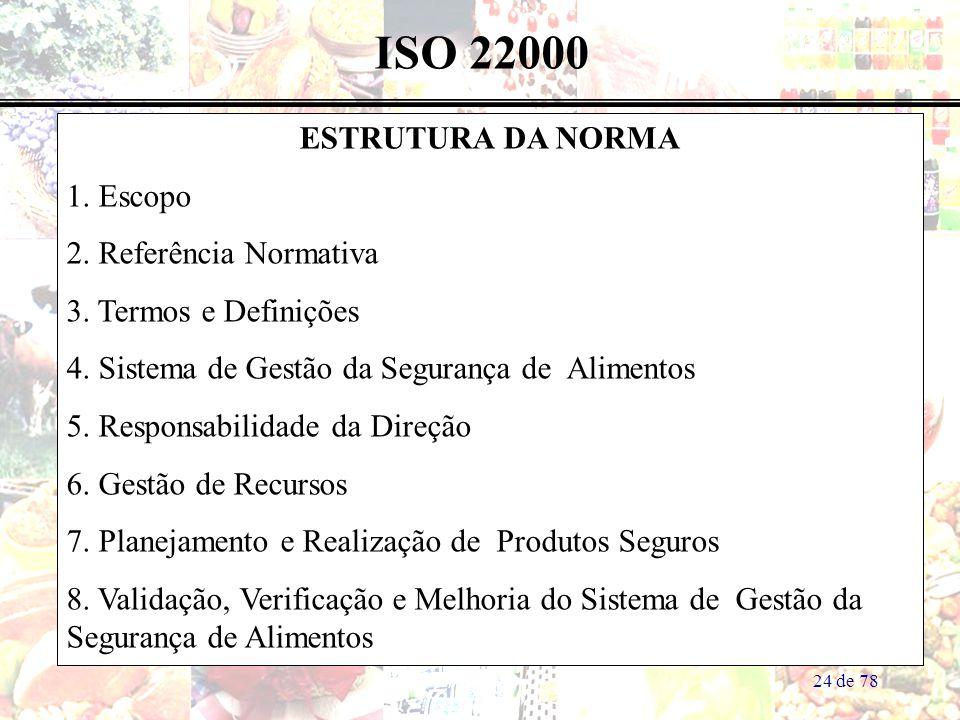 ISO 22000 ESTRUTURA DA NORMA 1. Escopo 2. Referência Normativa