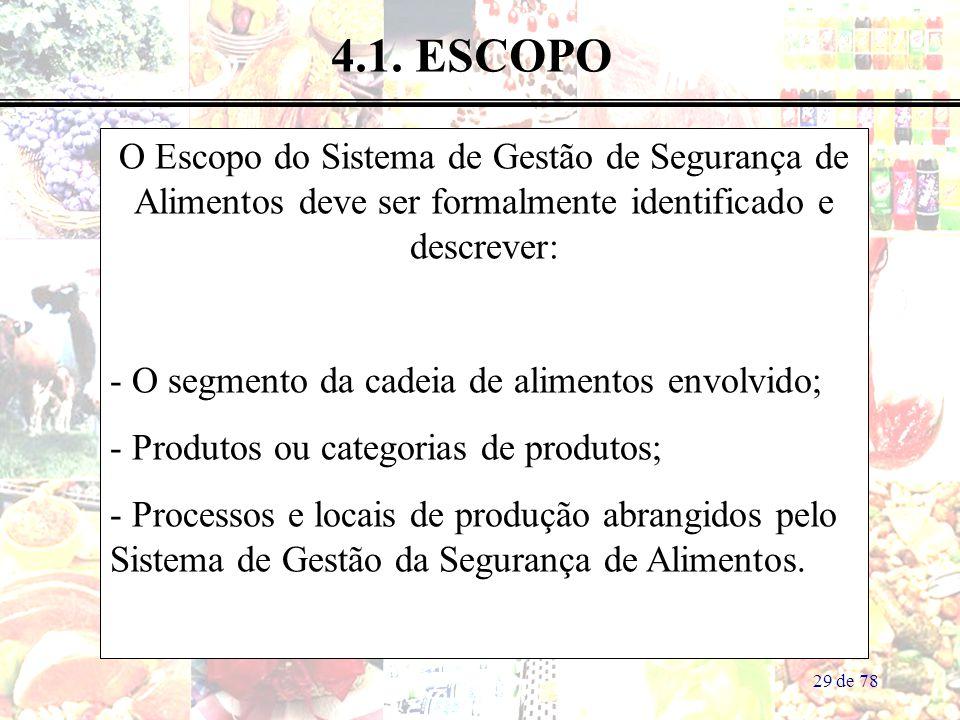 4.1. ESCOPO O Escopo do Sistema de Gestão de Segurança de Alimentos deve ser formalmente identificado e descrever:
