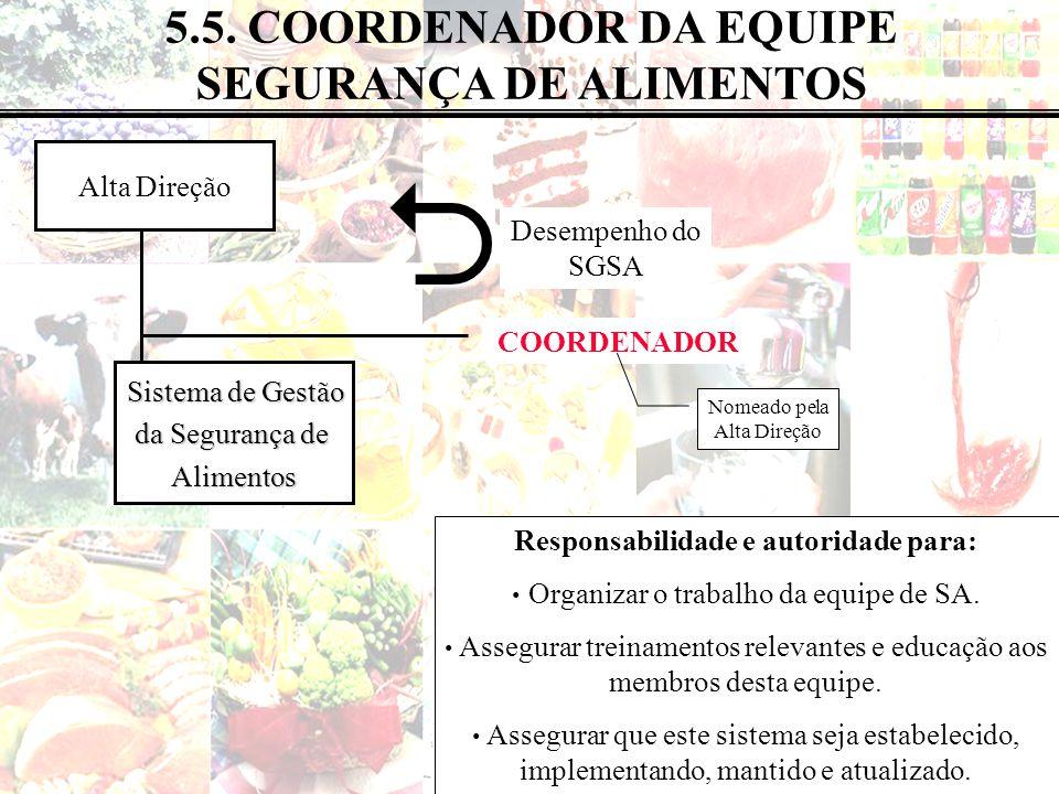  5.5. COORDENADOR DA EQUIPE SEGURANÇA DE ALIMENTOS Alta Direção