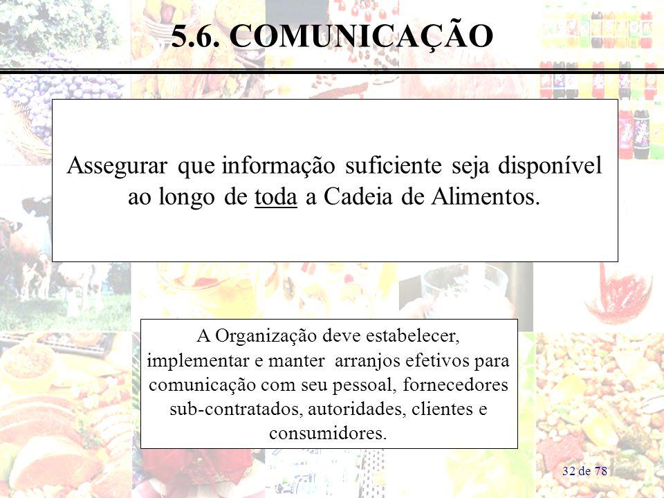 5.6. COMUNICAÇÃO Assegurar que informação suficiente seja disponível ao longo de toda a Cadeia de Alimentos.