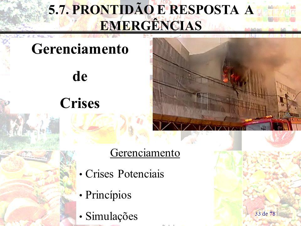 5.7. PRONTIDÃO E RESPOSTA A EMERGÊNCIAS