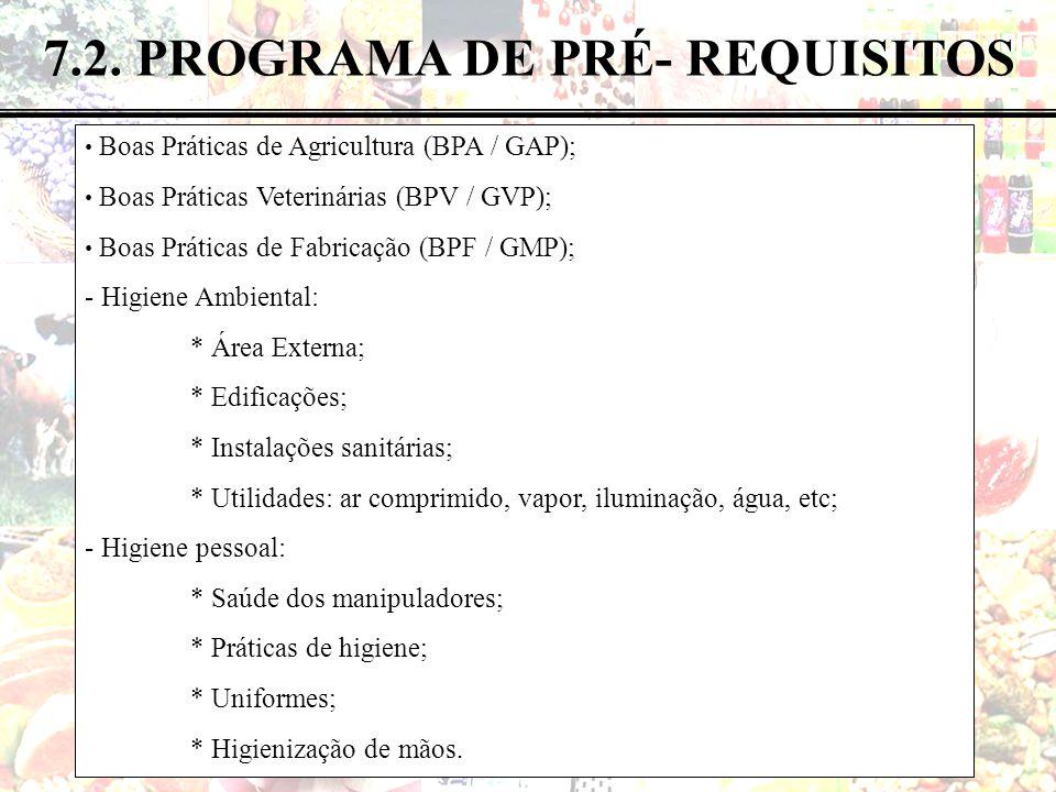 7.2. PROGRAMA DE PRÉ- REQUISITOS