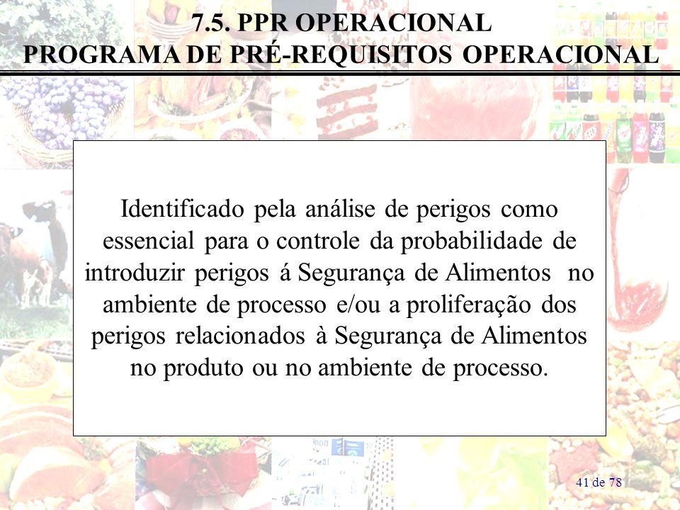 7.5. PPR OPERACIONAL PROGRAMA DE PRÉ-REQUISITOS OPERACIONAL