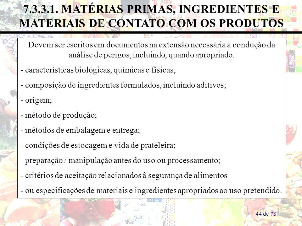 7.3.3.1. MATÉRIAS PRIMAS, INGREDIENTES E MATERIAIS DE CONTATO COM OS PRODUTOS