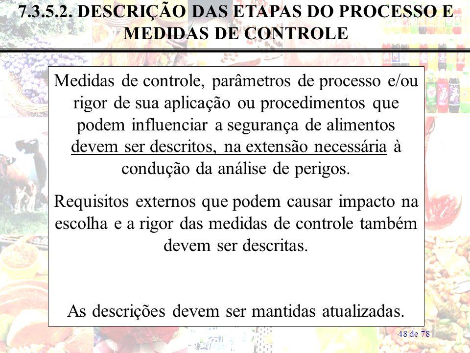 7.3.5.2. DESCRIÇÃO DAS ETAPAS DO PROCESSO E MEDIDAS DE CONTROLE