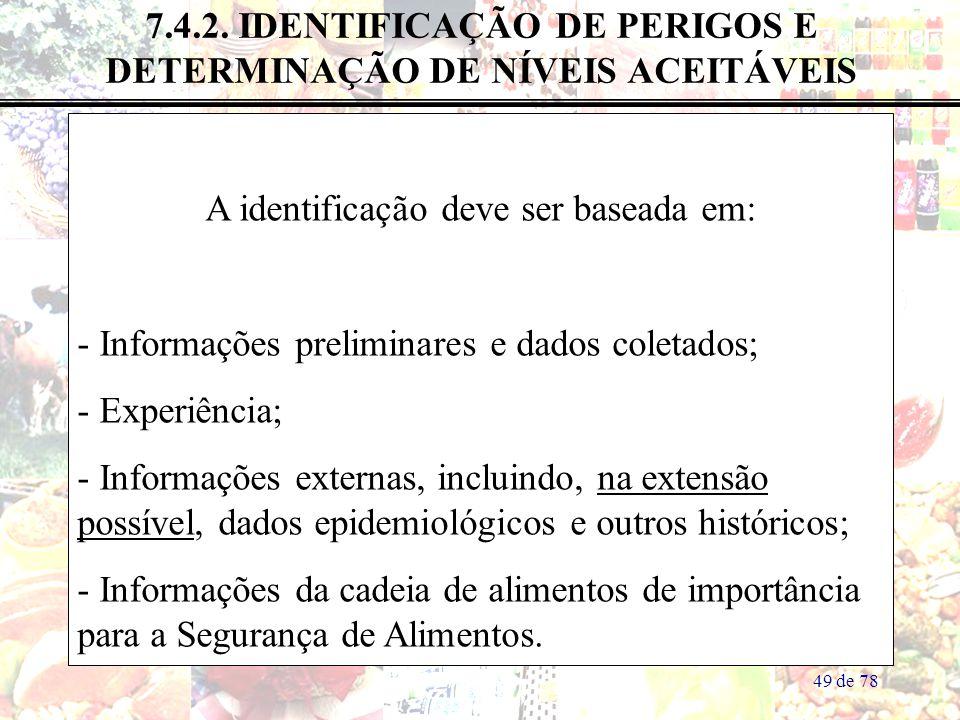 7.4.2. IDENTIFICAÇÃO DE PERIGOS E DETERMINAÇÃO DE NÍVEIS ACEITÁVEIS