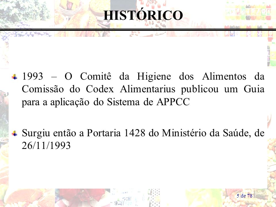 HISTÓRICO 1993 – O Comitê da Higiene dos Alimentos da Comissão do Codex Alimentarius publicou um Guia para a aplicação do Sistema de APPCC.