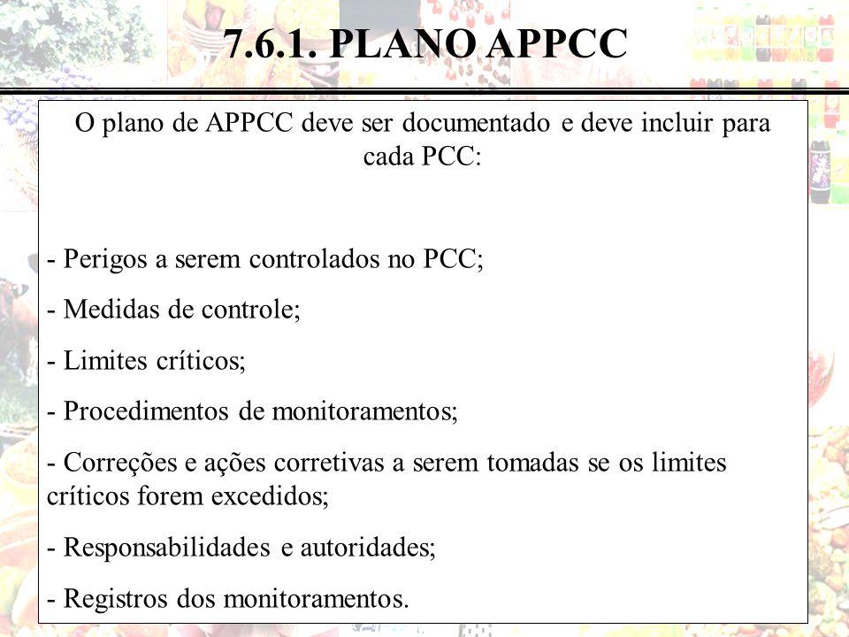 O plano de APPCC deve ser documentado e deve incluir para cada PCC: