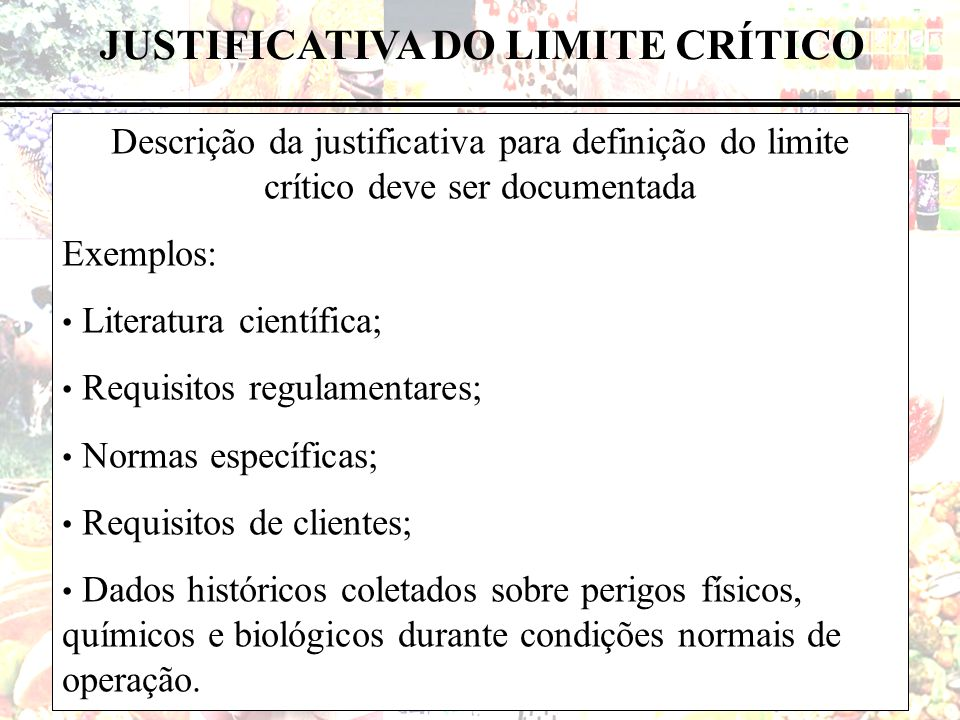 JUSTIFICATIVA DO LIMITE CRÍTICO