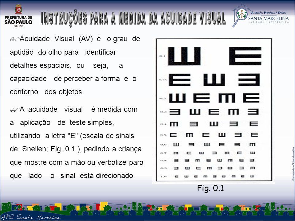 INSTRUÇÕES PARA A MEDIDA DA ACUlDADE VISUAL