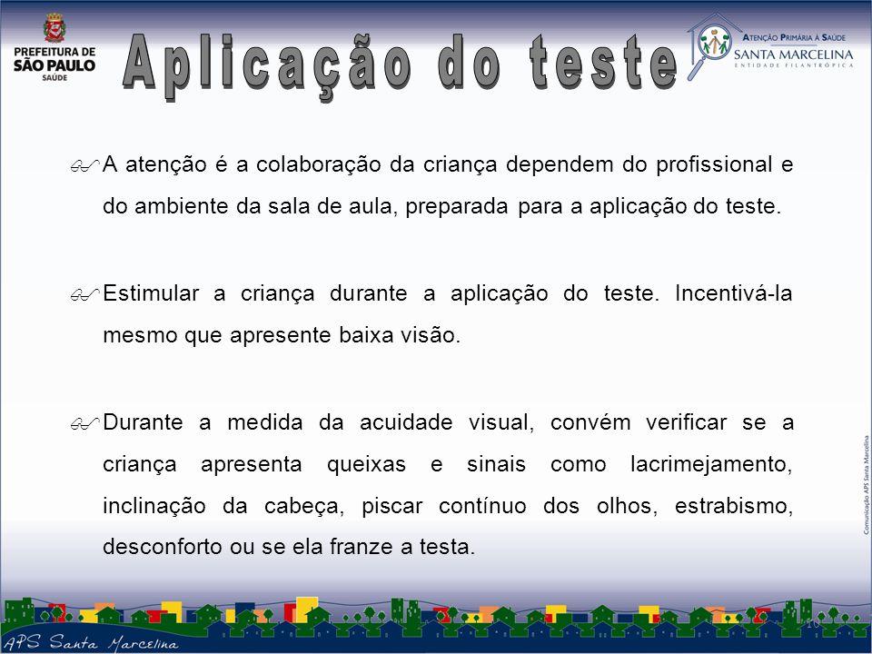 Aplicação do teste A atenção é a colaboração da criança dependem do profissional e do ambiente da sala de aula, preparada para a aplicação do teste.