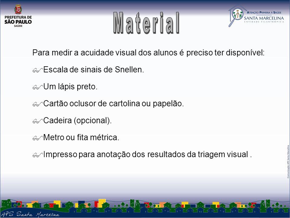 Material Para medir a acuidade visual dos alunos é preciso ter disponível: Escala de sinais de Snellen.