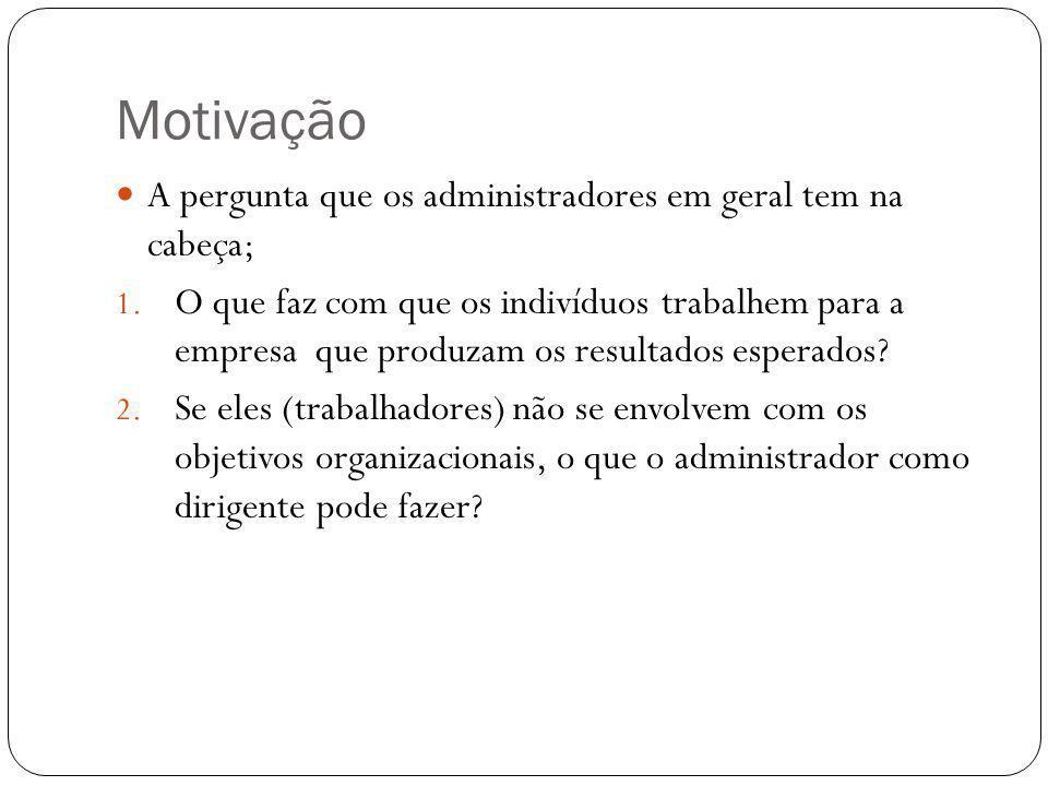 Motivação A pergunta que os administradores em geral tem na cabeça;