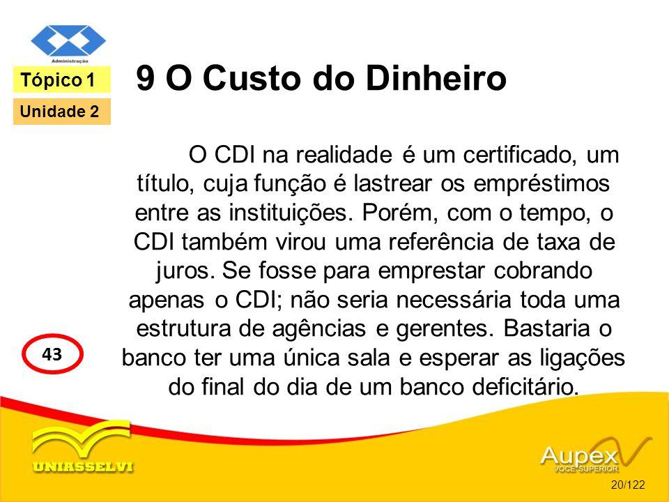 9 O Custo do Dinheiro Tópico 1. Unidade 2. O CDI na realidade é um certificado, um título, cuja função é lastrear os empréstimos.