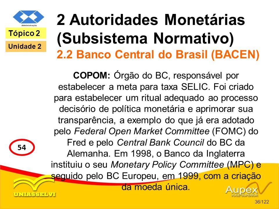 2 Autoridades Monetárias (Subsistema Normativo) 2