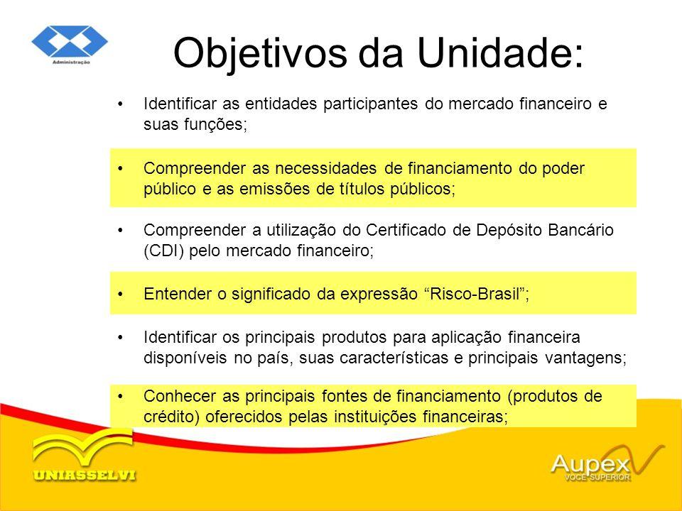 Objetivos da Unidade: Identificar as entidades participantes do mercado financeiro e suas funções;