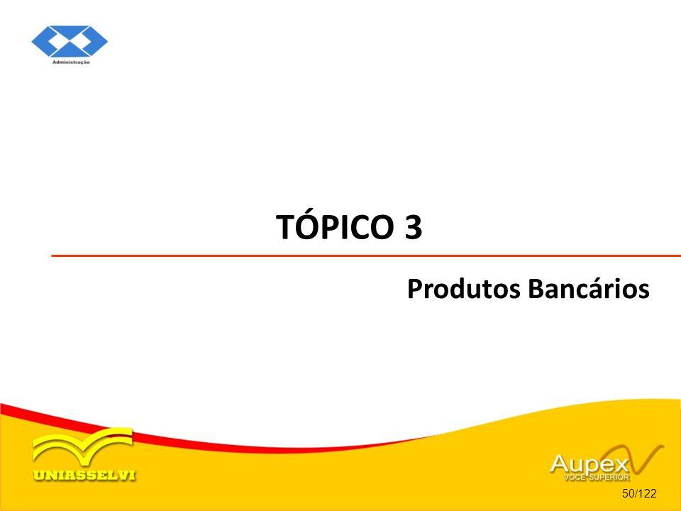 TÓPICO 3 Produtos Bancários 50/122