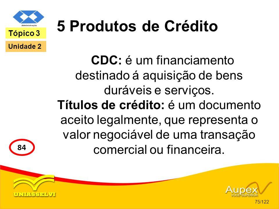 5 Produtos de Crédito Tópico 3. Unidade 2. CDC: é um financiamento destinado á aquisição de bens duráveis e serviços.