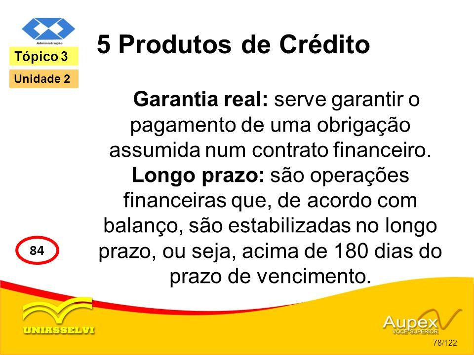 5 Produtos de Crédito Tópico 3. Unidade 2. Garantia real: serve garantir o pagamento de uma obrigação assumida num contrato financeiro.