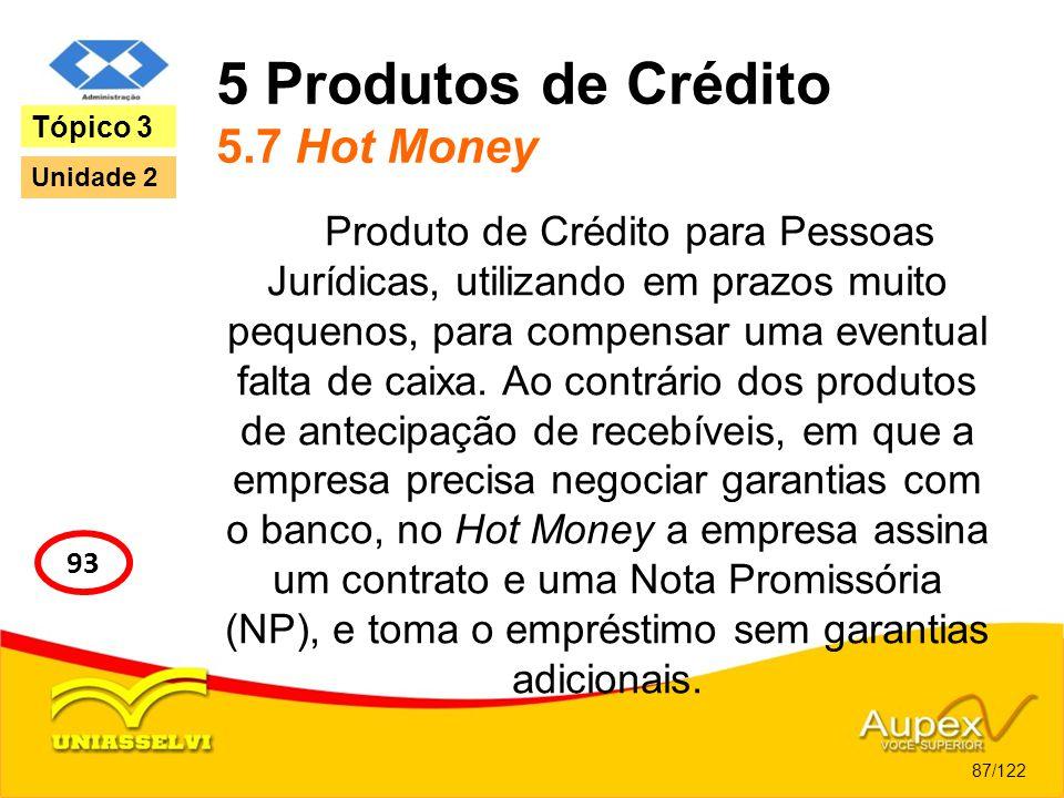 5 Produtos de Crédito 5.7 Hot Money