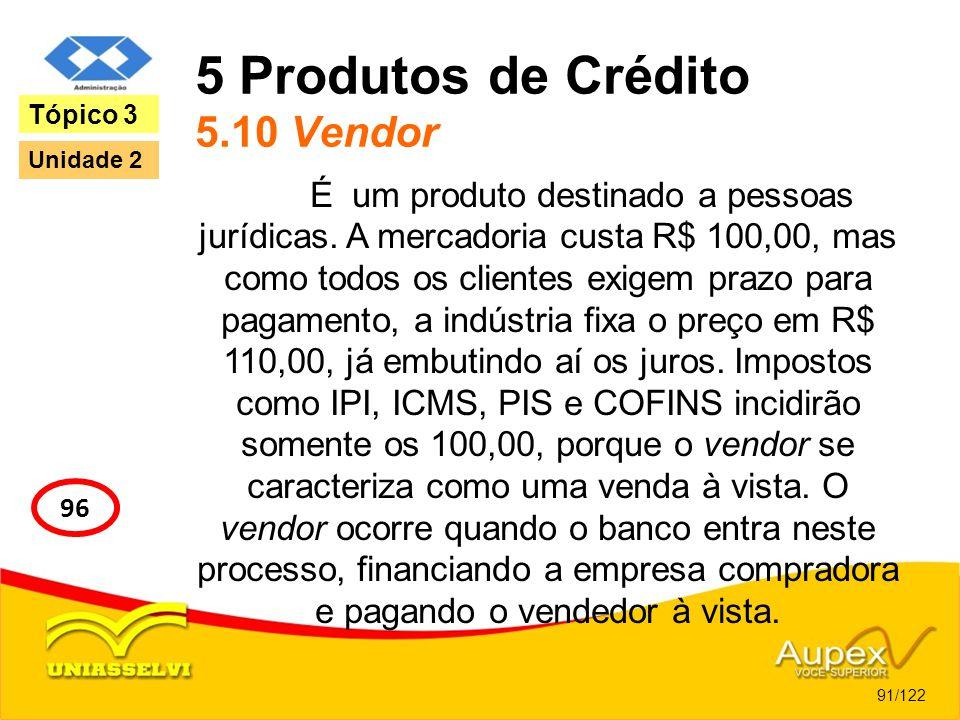 5 Produtos de Crédito 5.10 Vendor