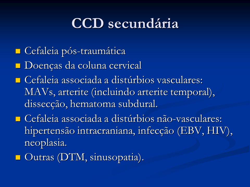 CCD secundária Cefaleia pós-traumática Doenças da coluna cervical