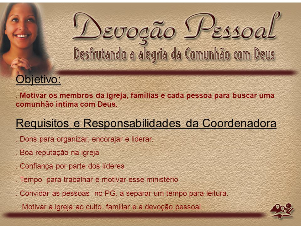 Requisitos e Responsabilidades da Coordenadora